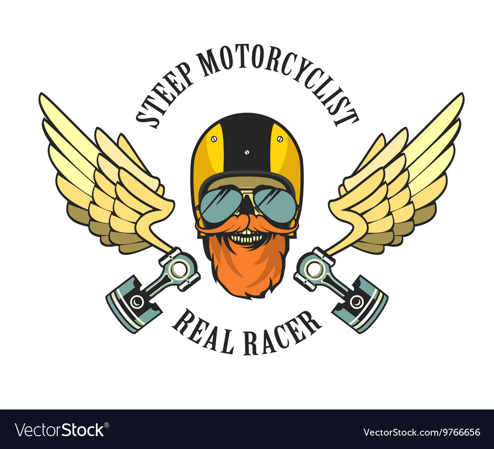 Retro emblem motorcyclist