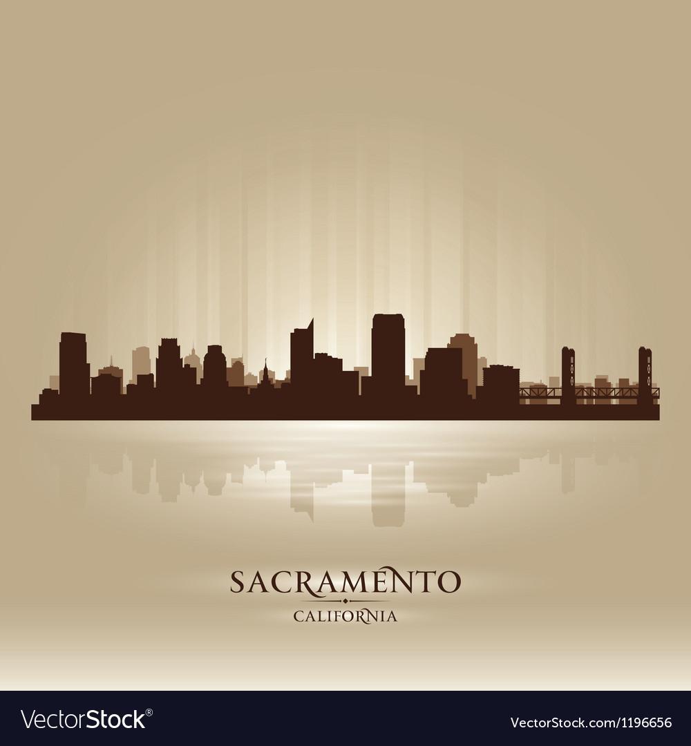 Sacramento California skyline city silhouette vector image