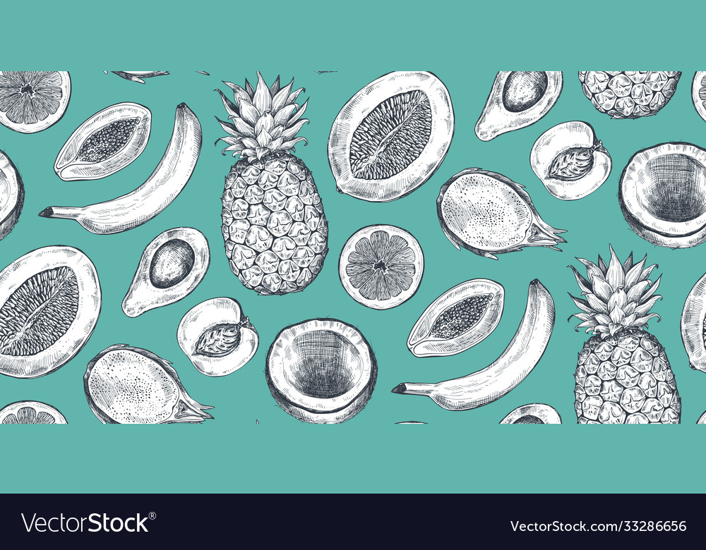 Seamless pattern with hand drawn fruits in