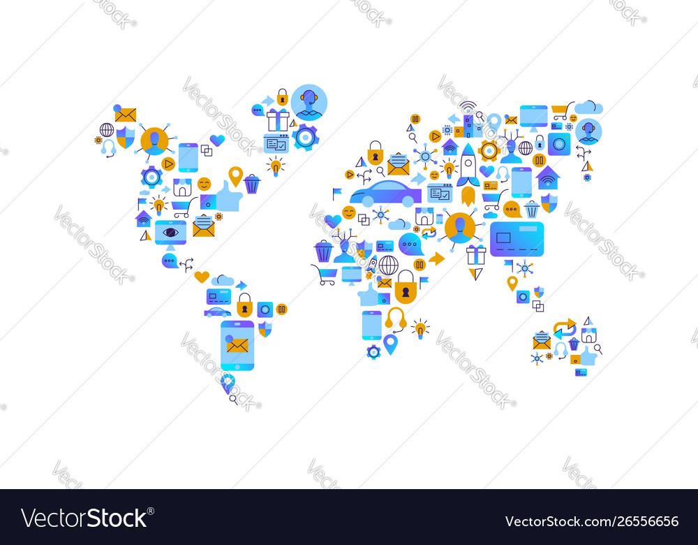 Technology world map flat internet icon concept