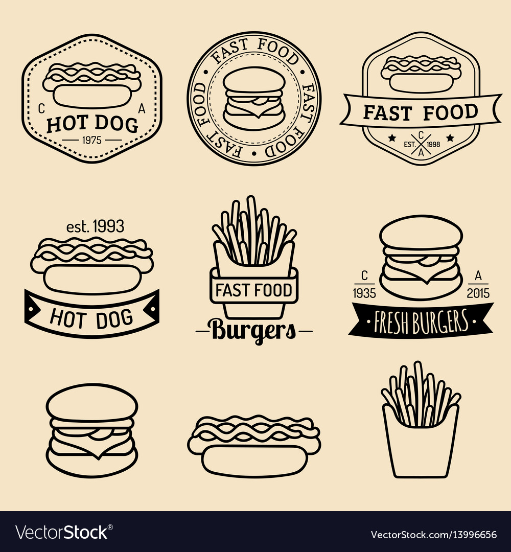 Vintage fast food logos set retro eating vector image