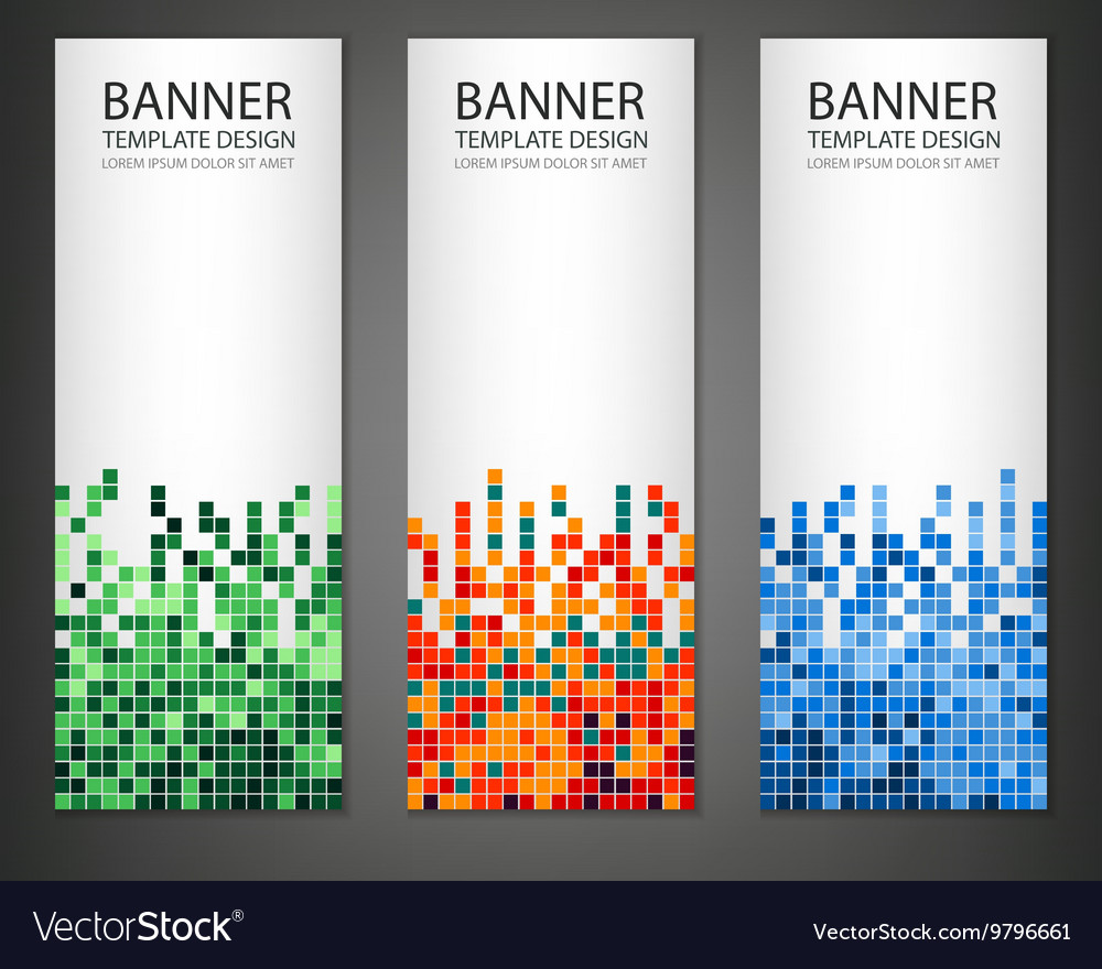 Abstract square pixel mosaic banners set Vertical