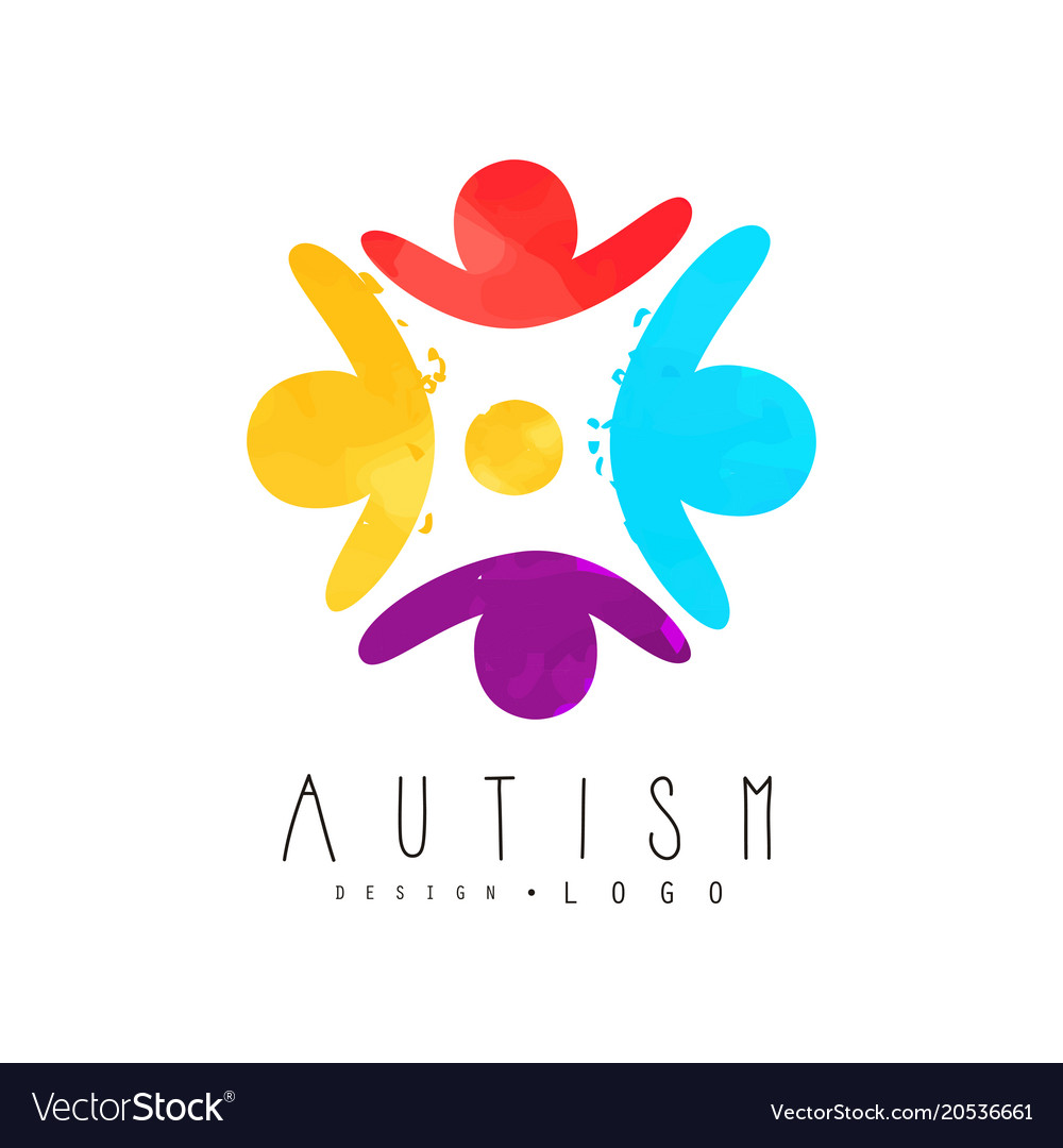 Autism awareness day logo with humans in circle