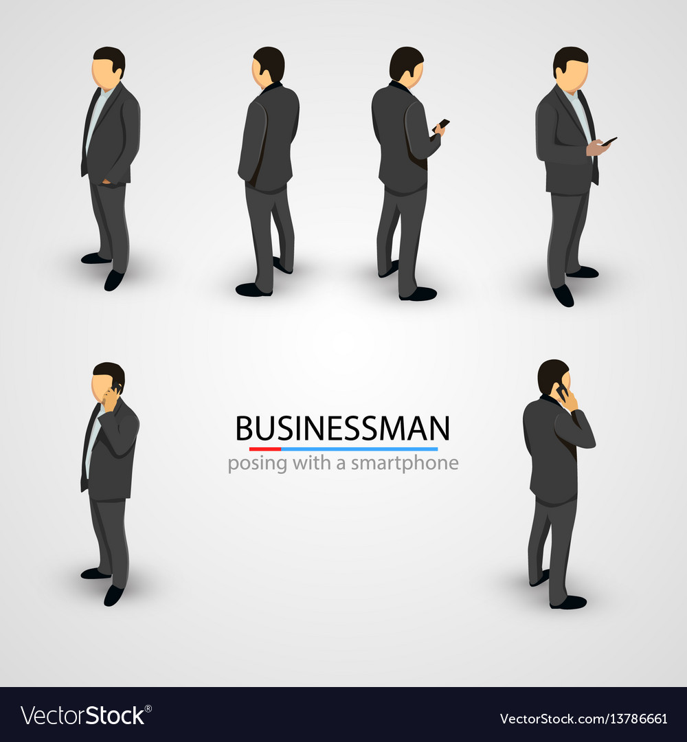 Businessman in various poses with mobile phone