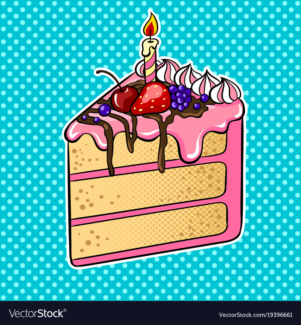 Fine Cake With Candle Pop Art Royalty Free Vector Image Personalised Birthday Cards Paralily Jamesorg