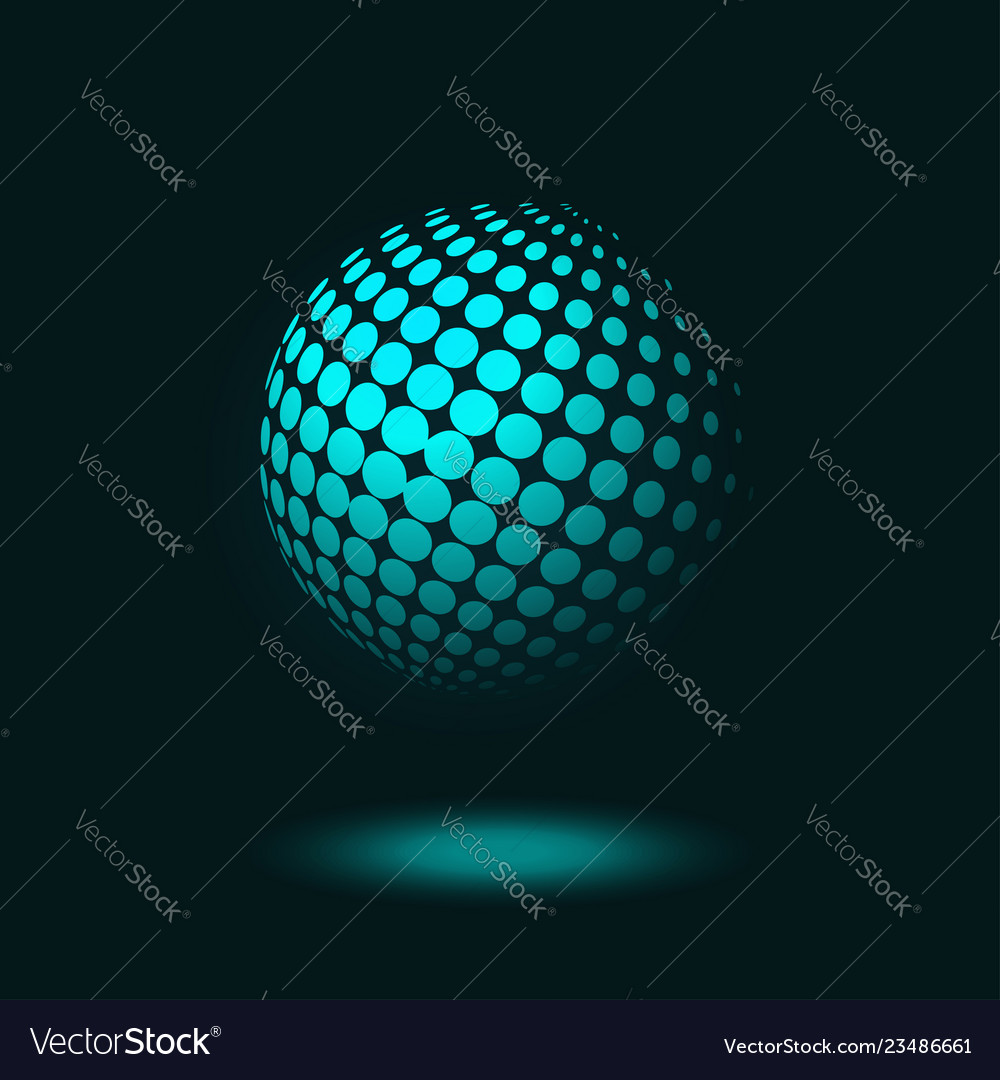 Dotted halftone sphere on dark blue background