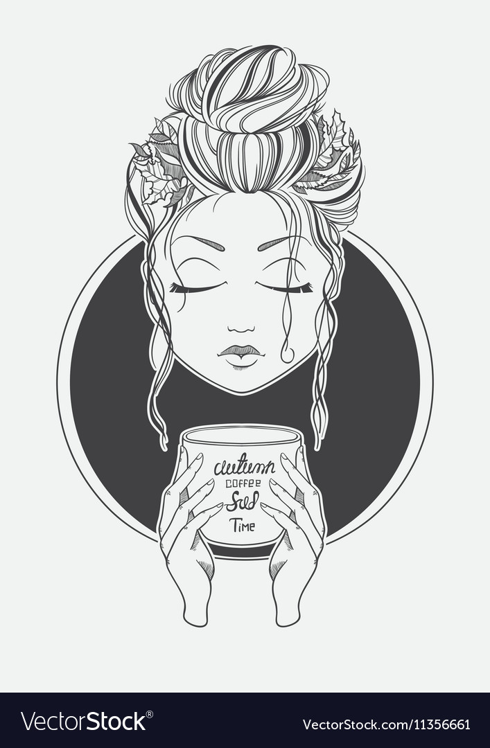 Girl drinking coffee Black and White print line