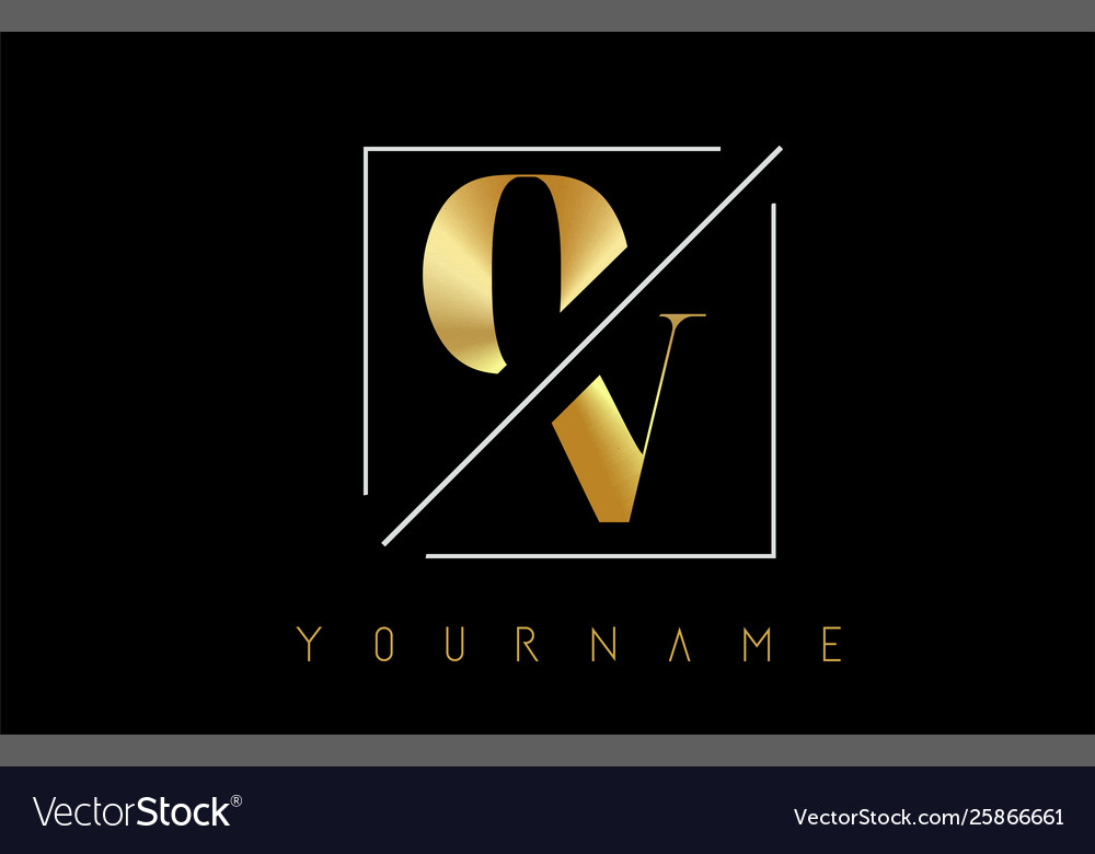 Ov golden letter logo with cutted and intersected
