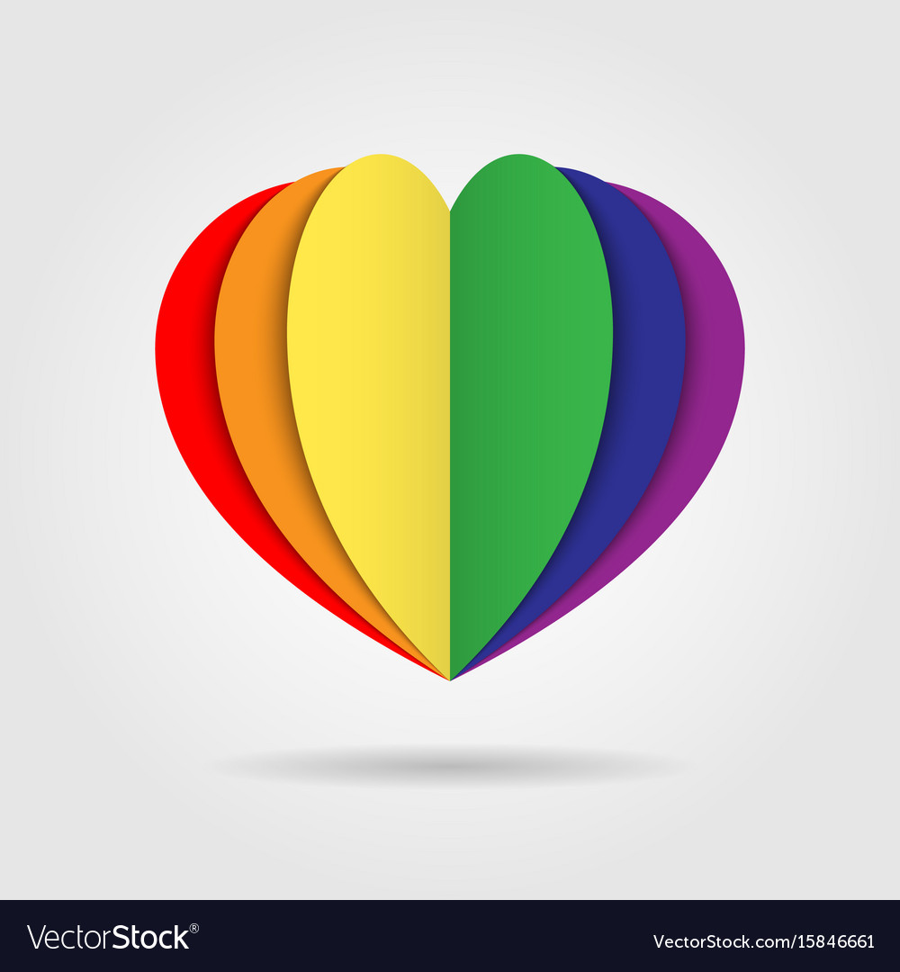 Rainbow heart icon logo on white background