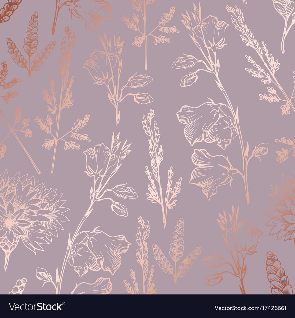 Rose Gold Elegant Decorative Floral Pattern For Vector Image