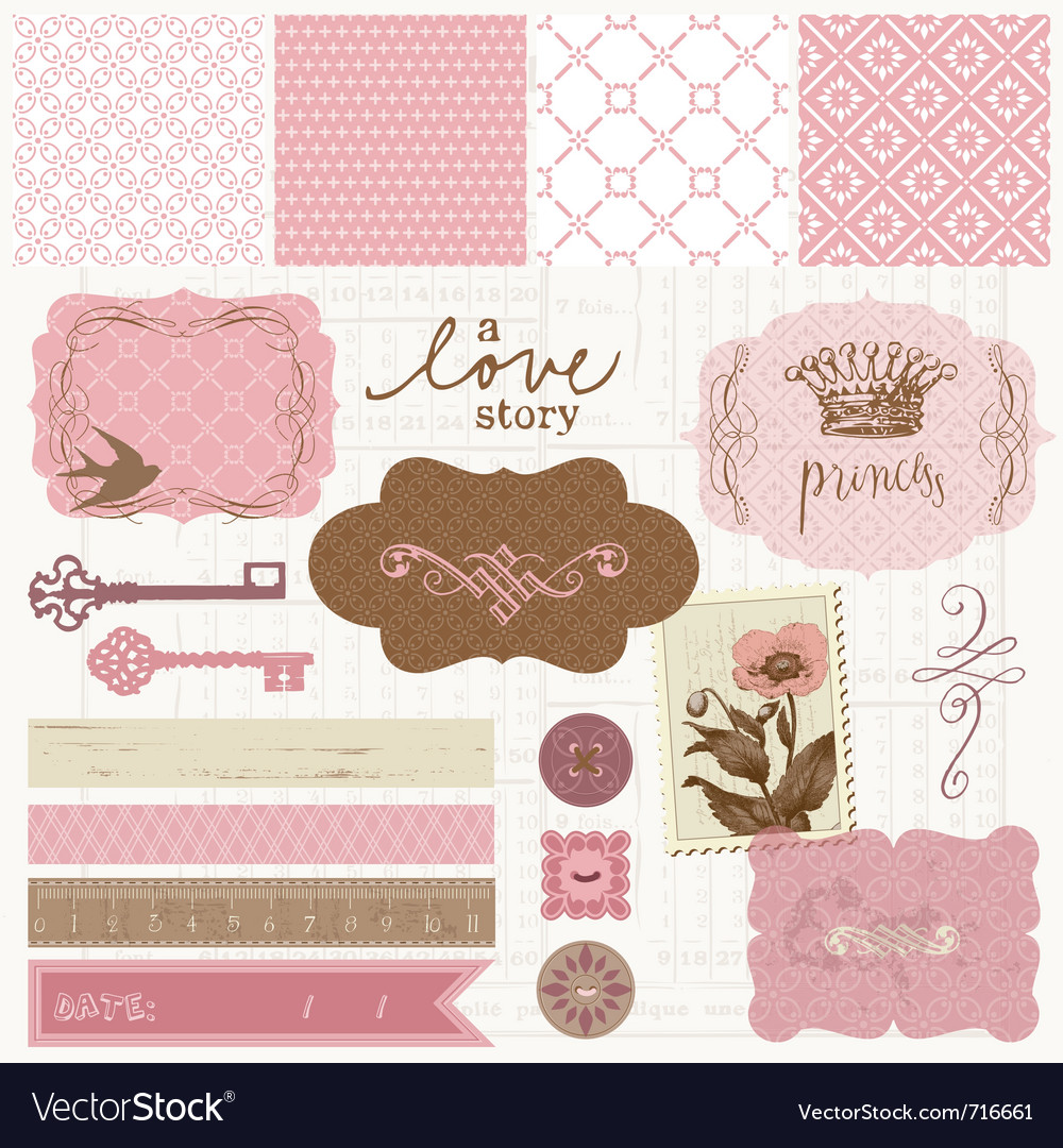 Vintage Love Pictures on Scrapbook Design Elements   Vintage Love Set Vector 716661   By