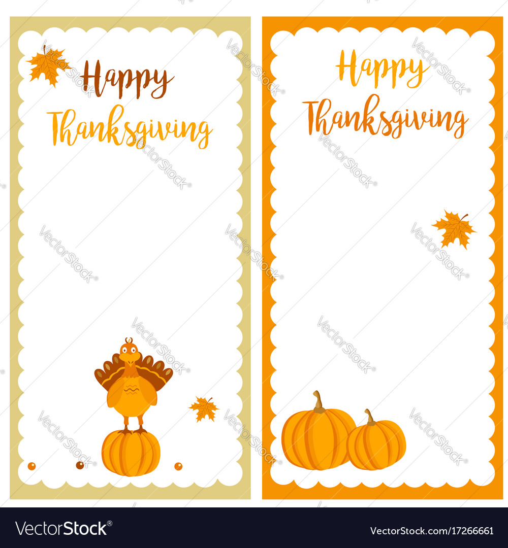 Set of thanksgiving banners with turkey pumpkins