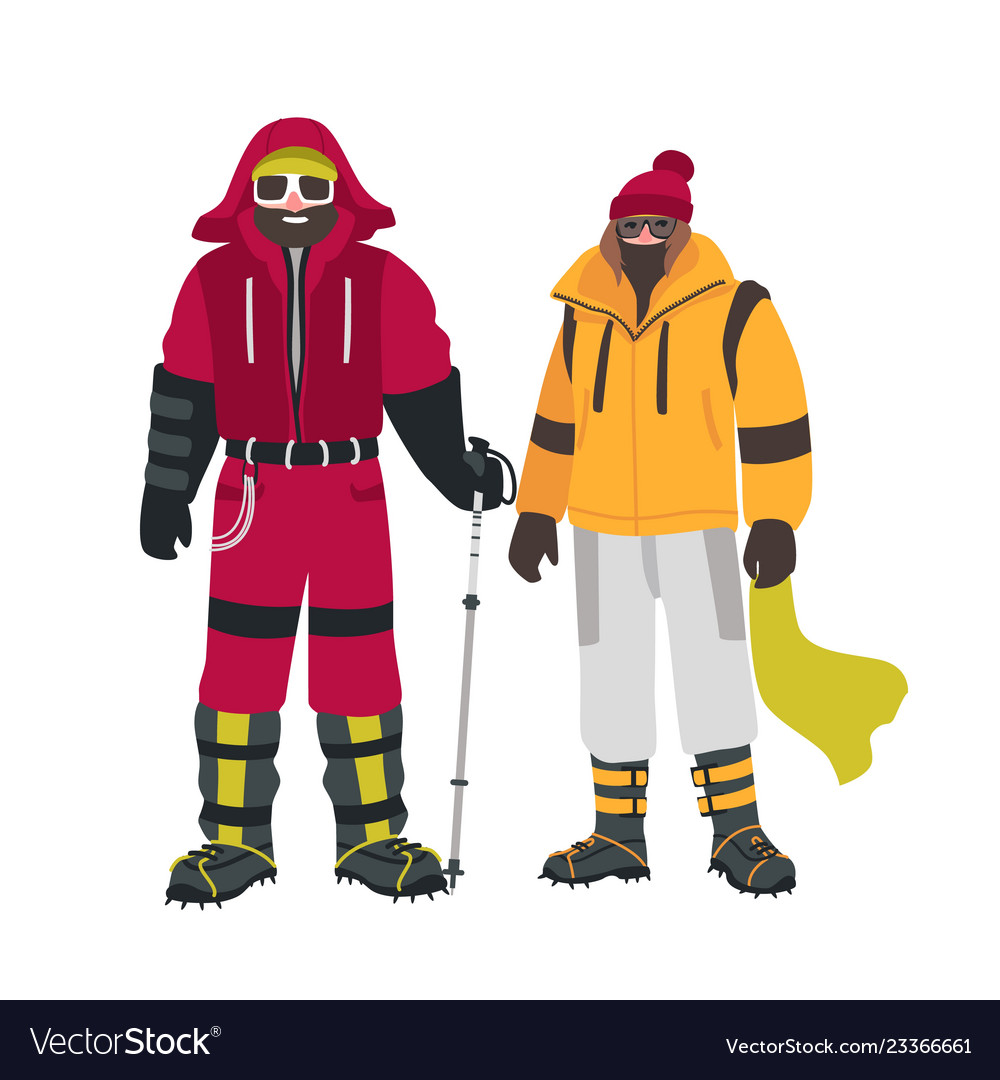 Two smiling climbers or alpinists with special