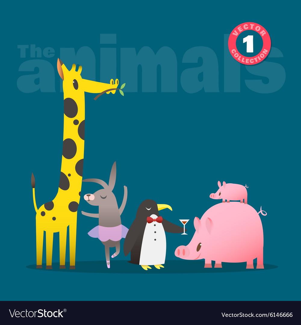 Animals cartoon pig piglet giraffe rabbit penguin