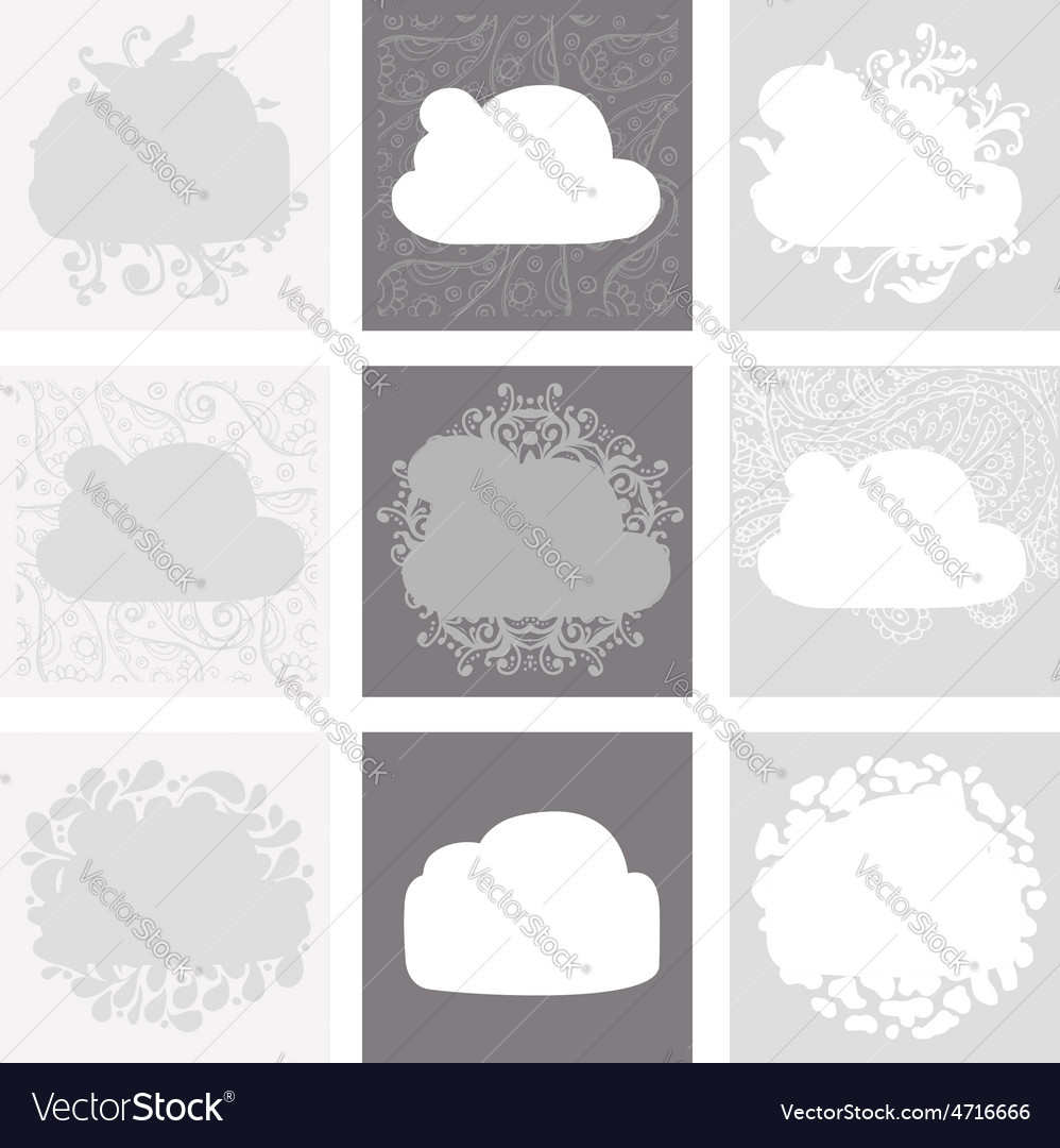Cloud shape backgrounds set for your design vector image