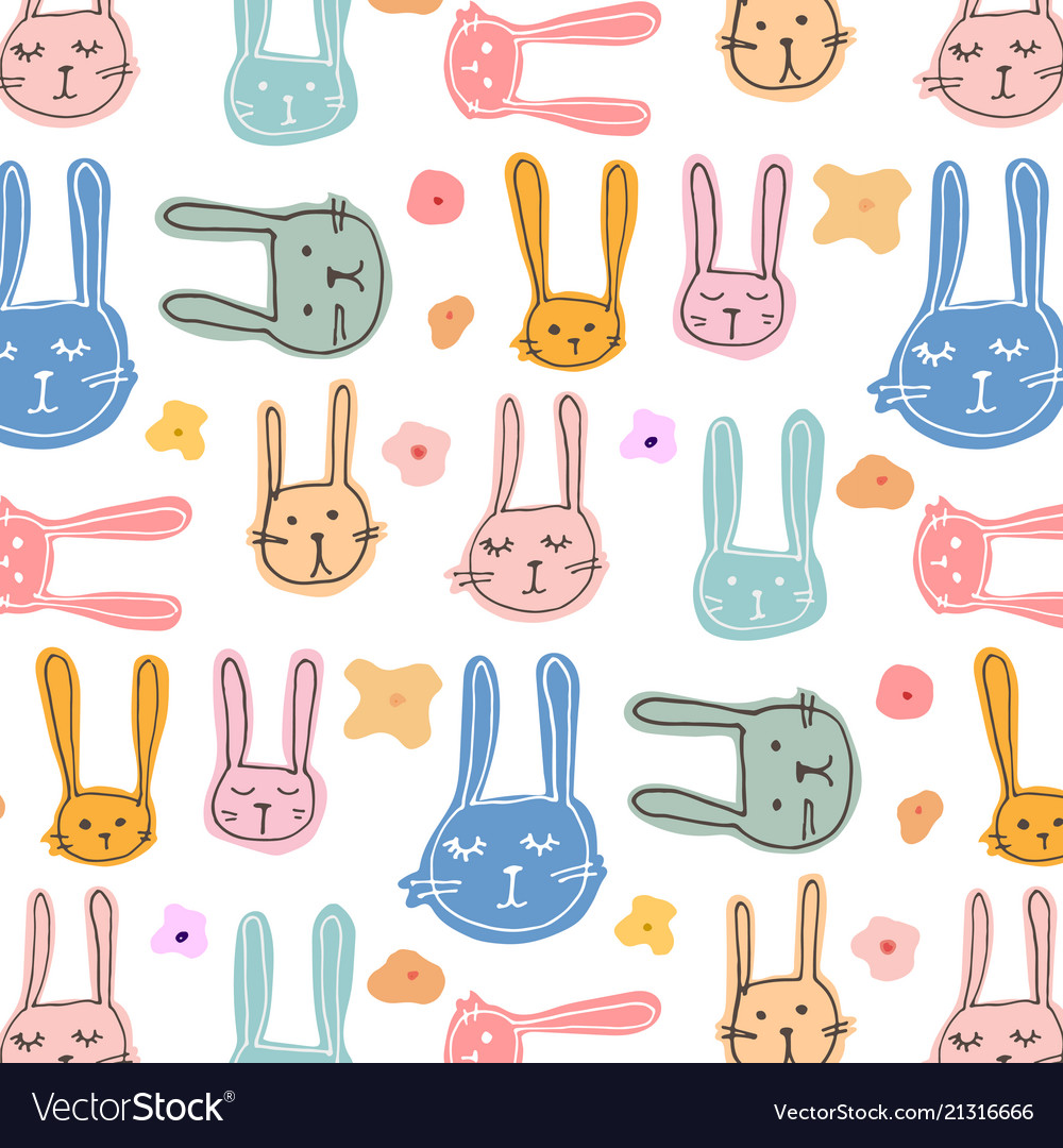 Cute bunny and floral pattern background