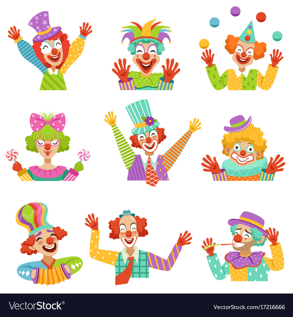 Happy cartoon friendly clowns character colorful