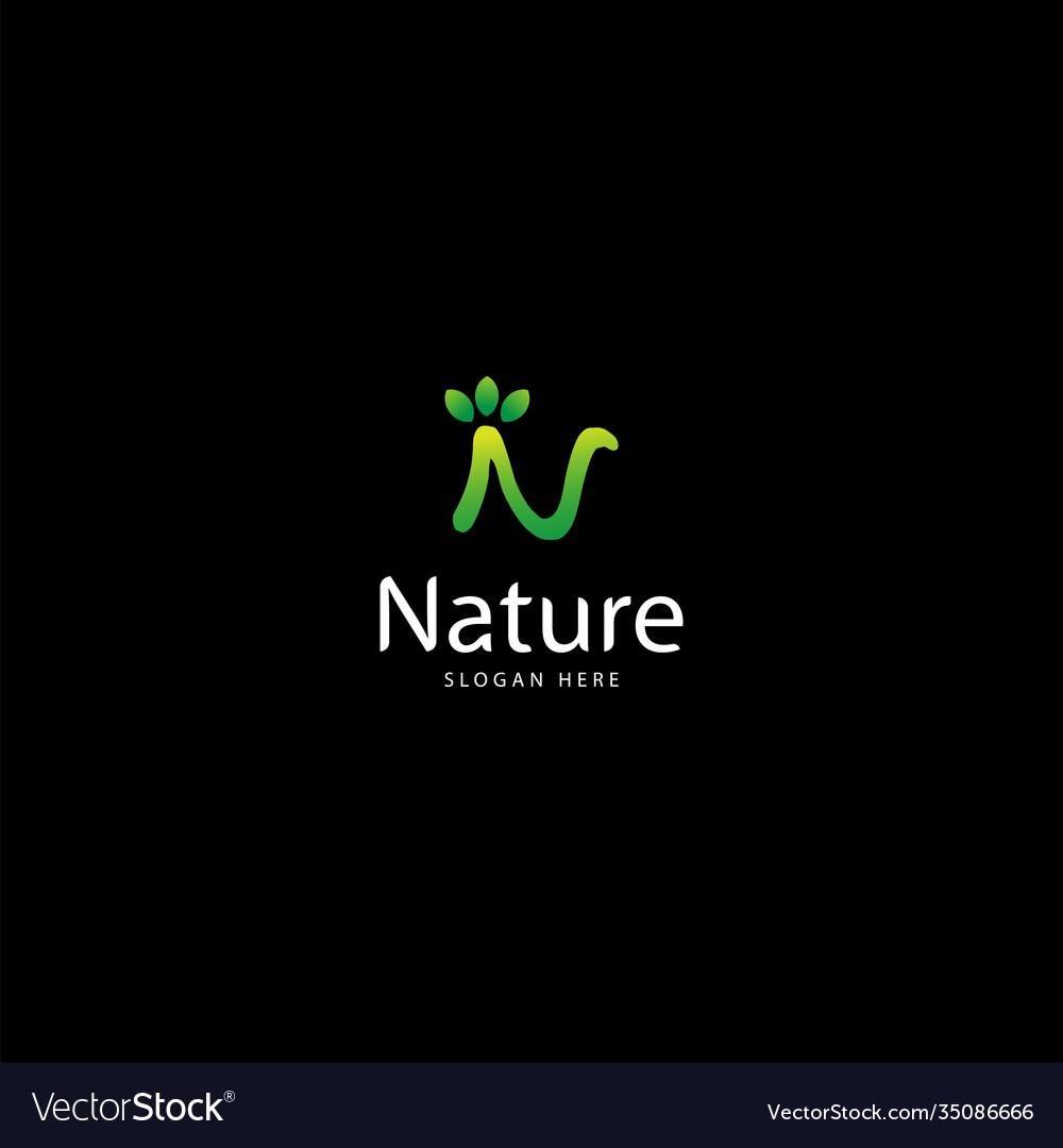 Letter n for nature and leaf logo logo nature