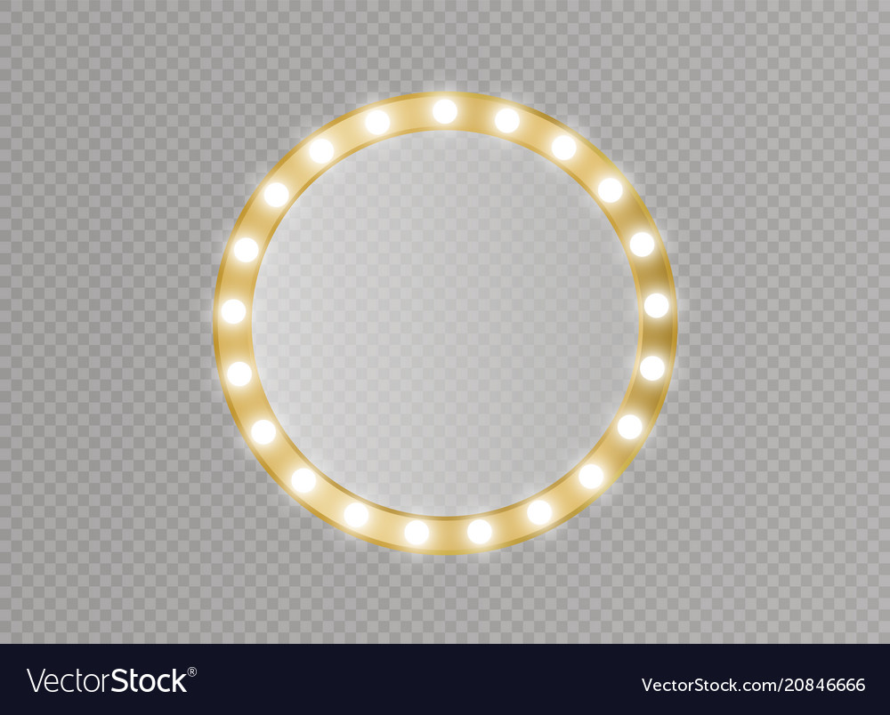 Makeup mirror isolated with gold lights