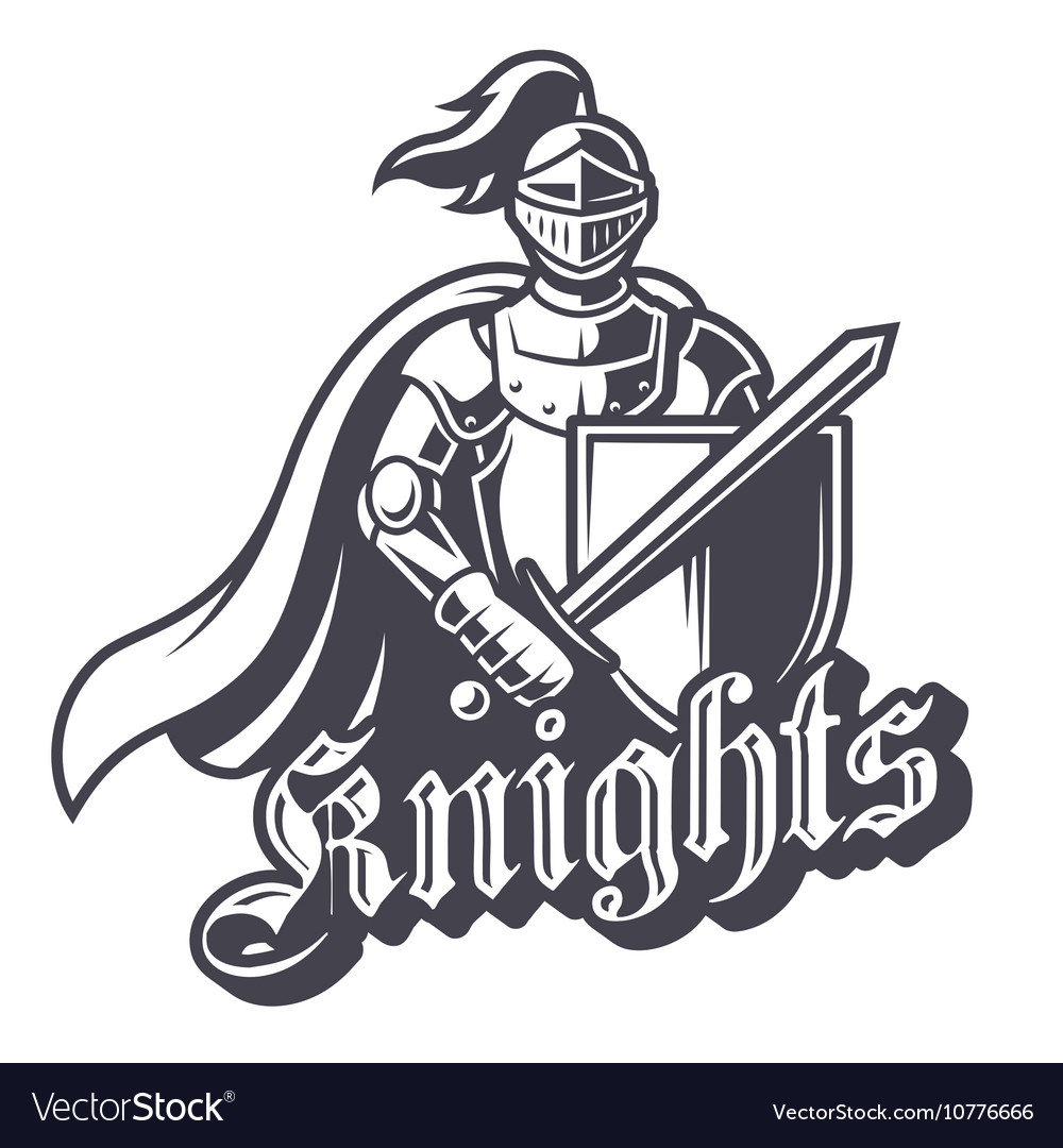 Monochrome Knight Sport Logo Royalty Free Vector Image Brand new logos based on the heroes of the past: vectorstock