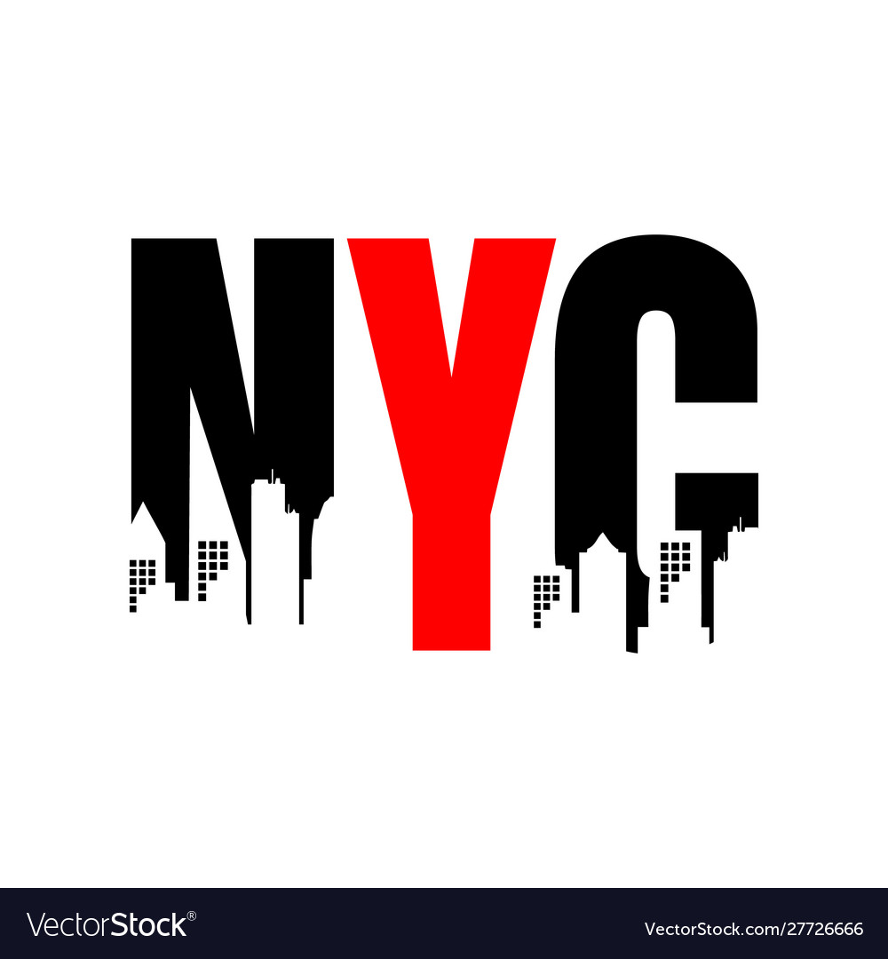 New york city abbreviation nyc lettering a modern