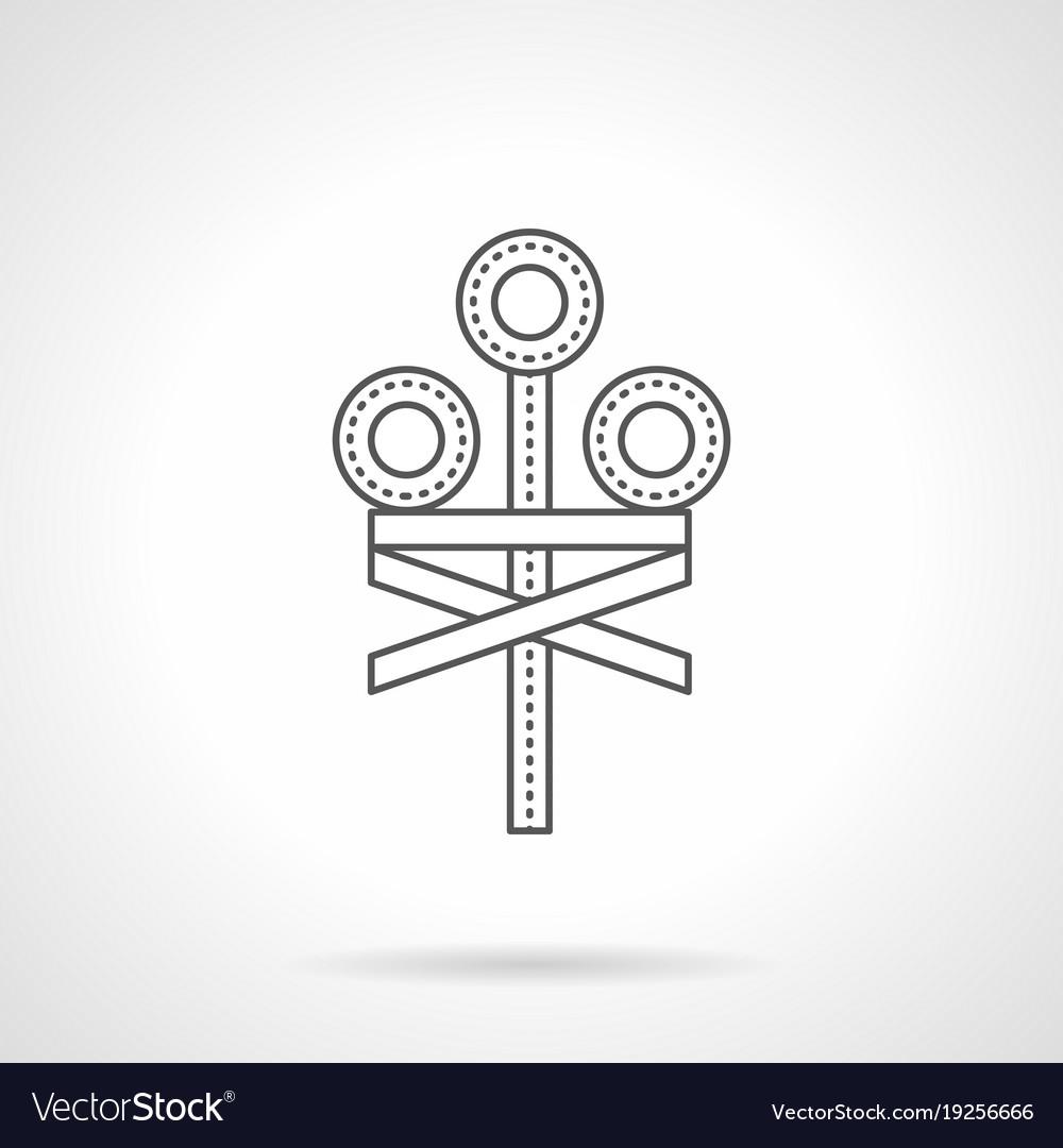 Railroad crossing signal flat line icon vector image