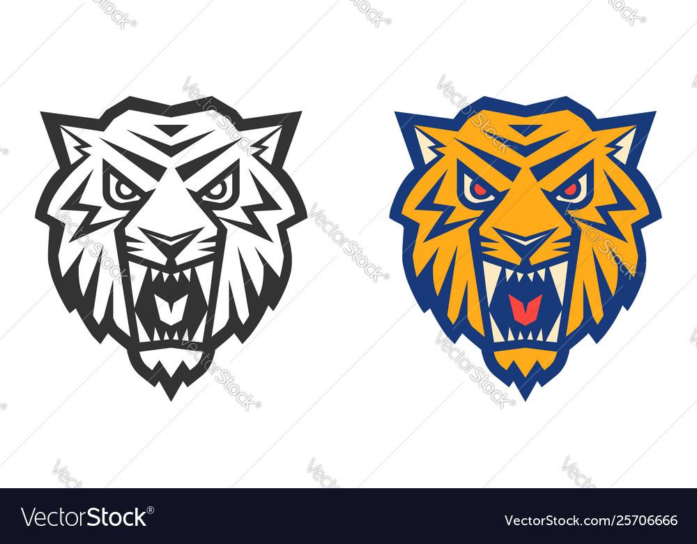 Retro sport logo with head a tiger