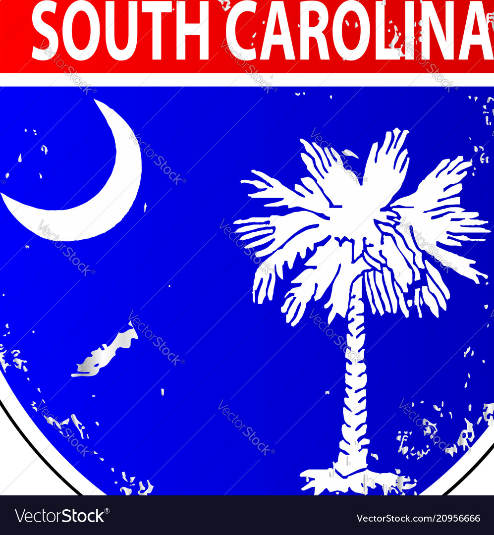 South Carolina Flag Icons As Interstate Sign Vector Image