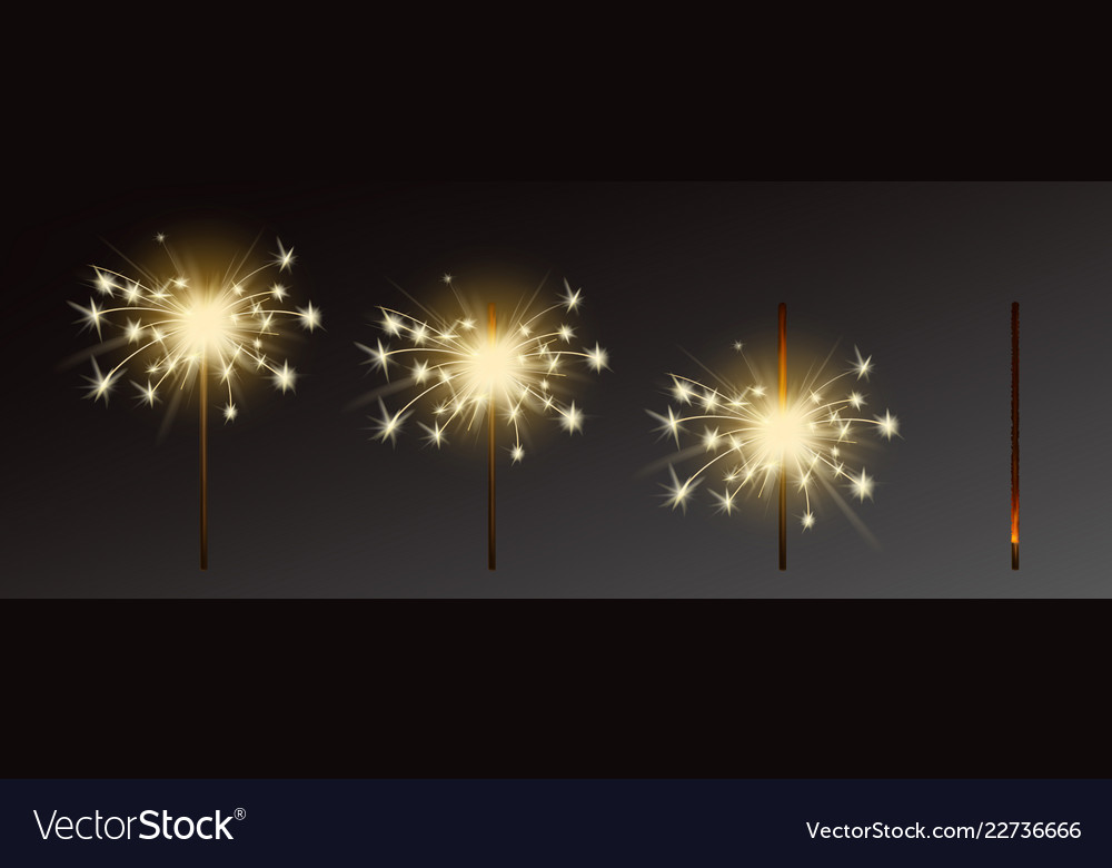 Sparklers set realistic flares with flames