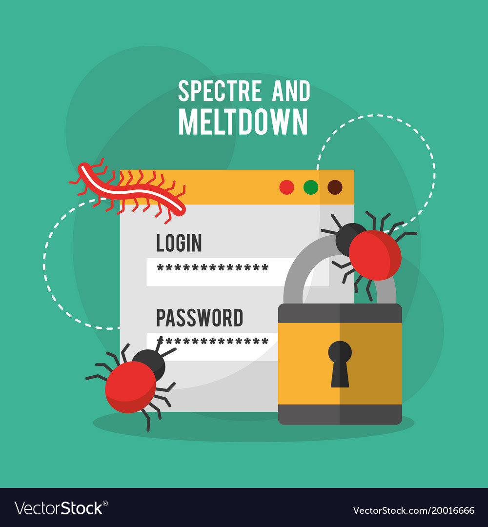 Spectre and meltdown login password security virus vector image