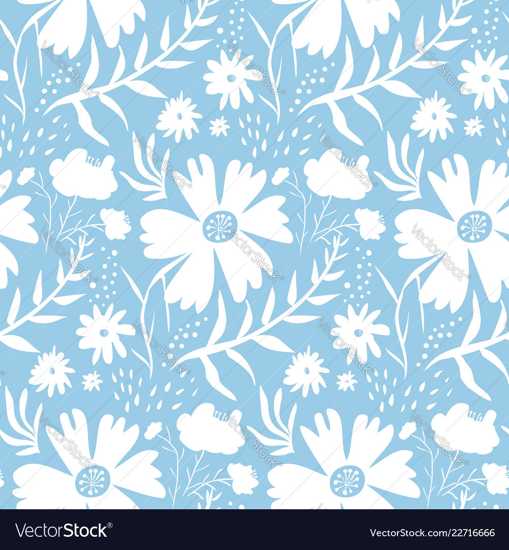 Tender White Floral Pattern On Blue Background Vector Image