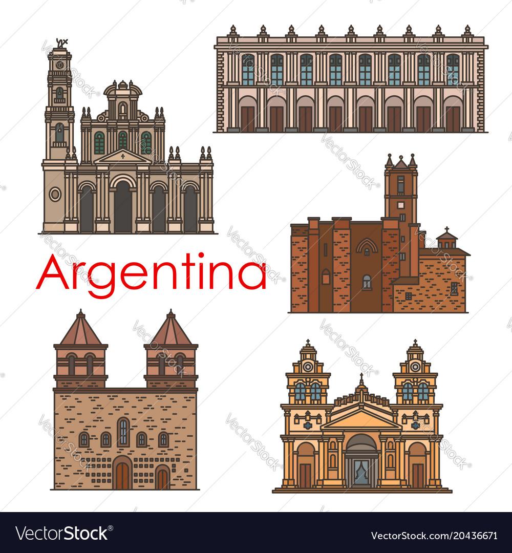 Argentina landmarks architecture line icons vector image