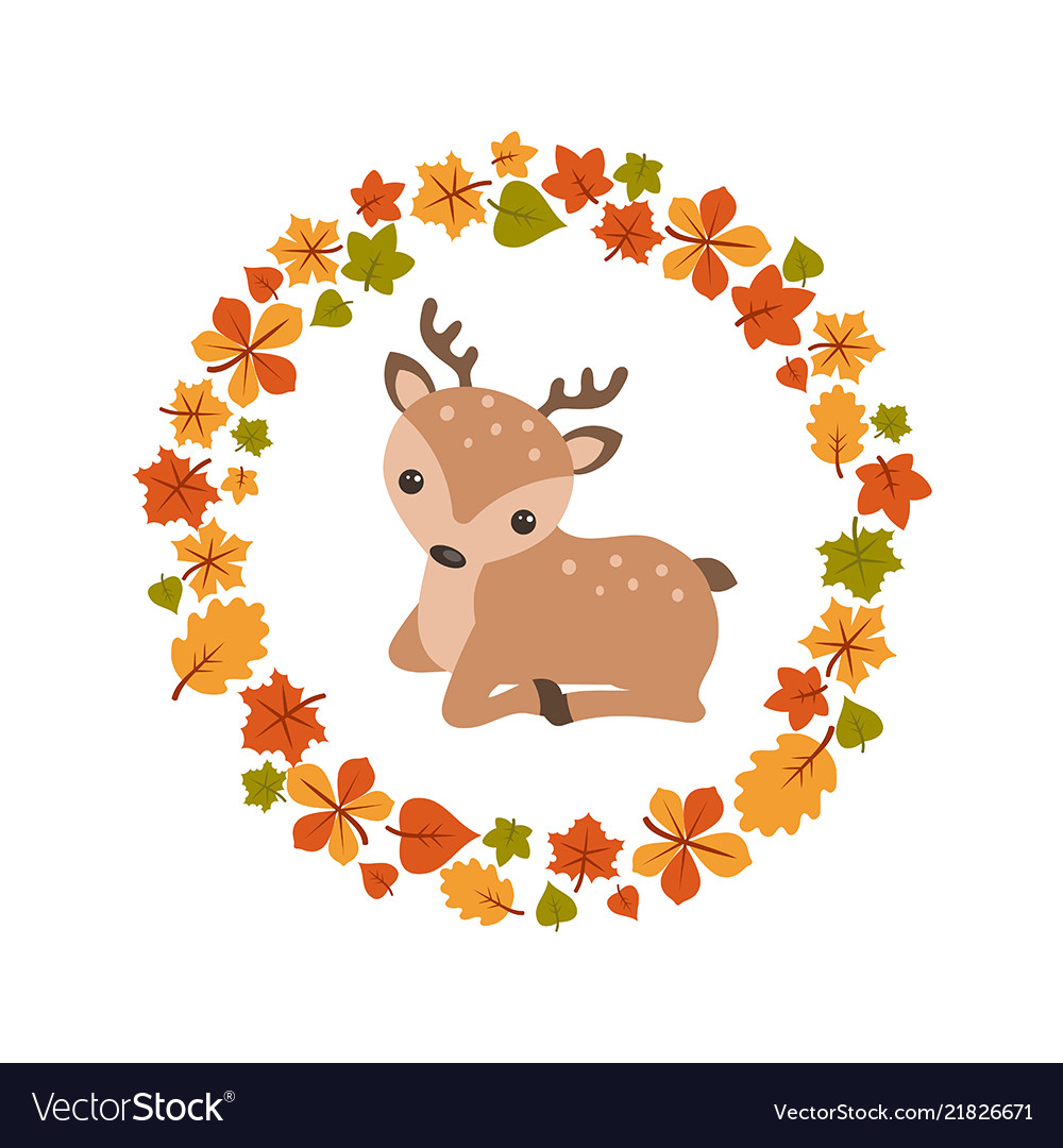 Autumn background with cute deer autumn