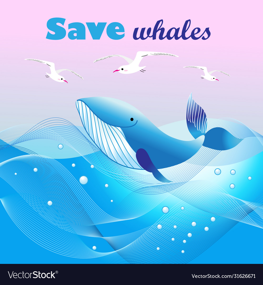 Beautiful ecological poster with a whale in the
