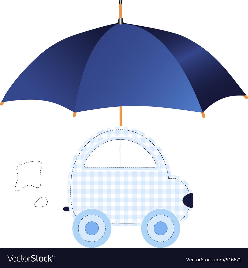 Blue car under umbrella