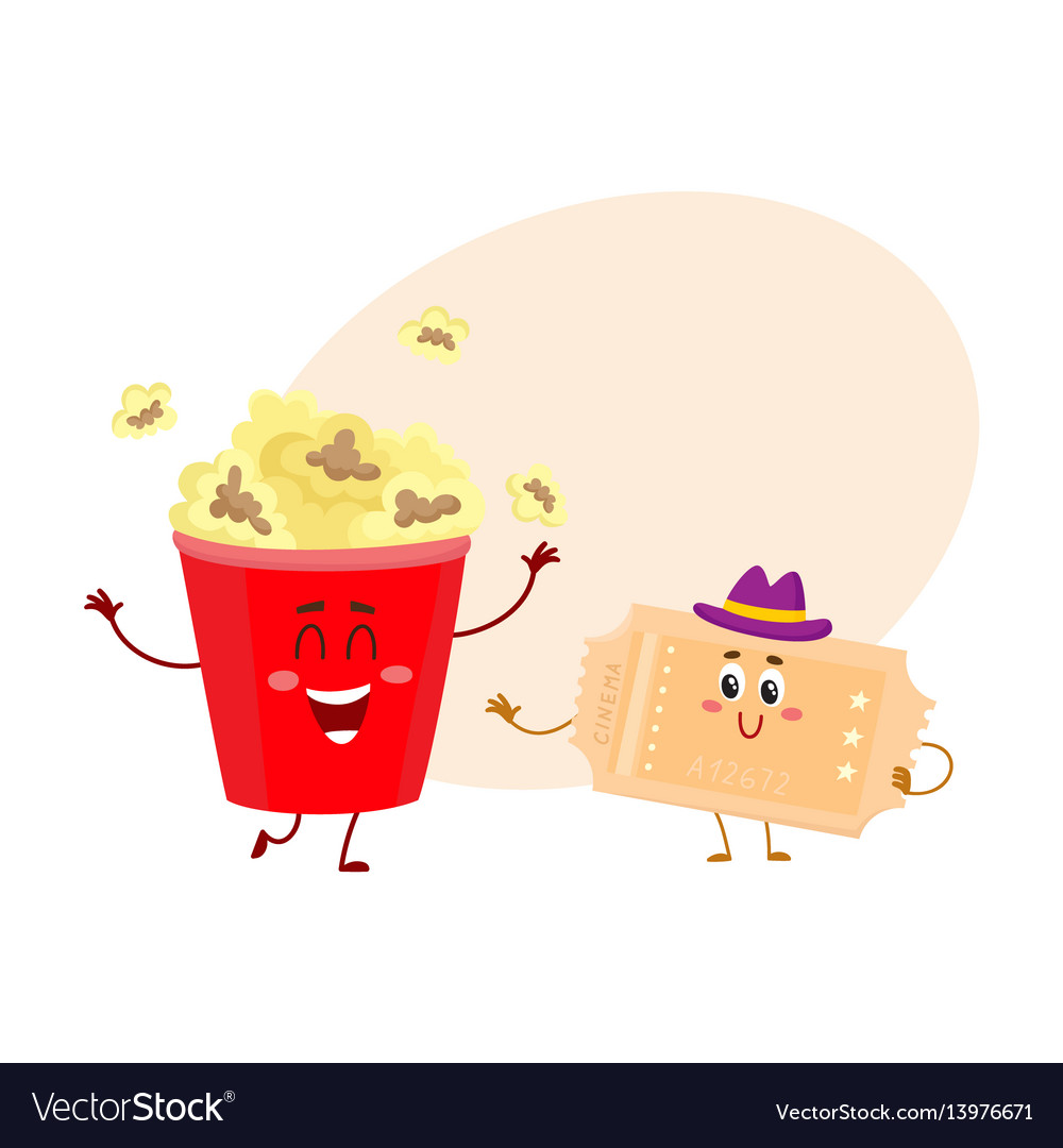 Cinema popcorn and vintage movie ticket characters vector image