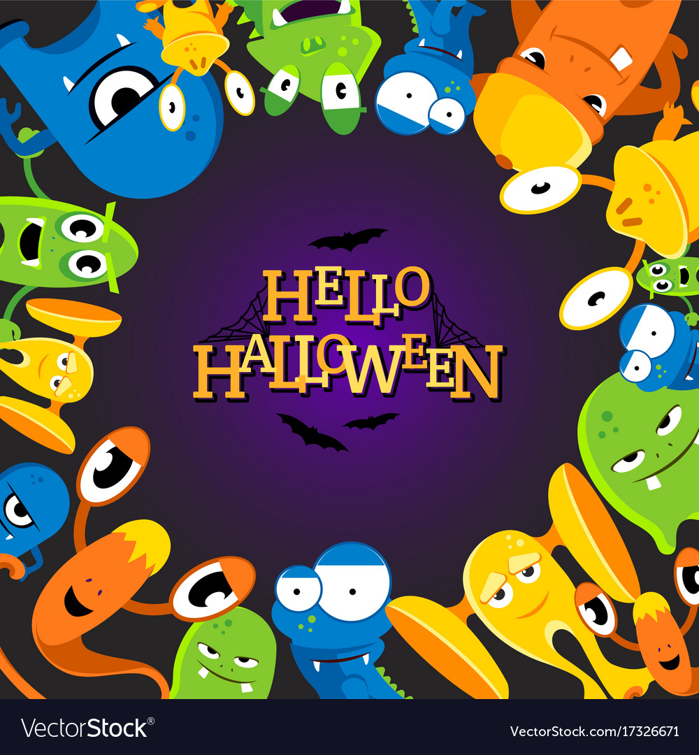 Cute cartoon halloween background with funny