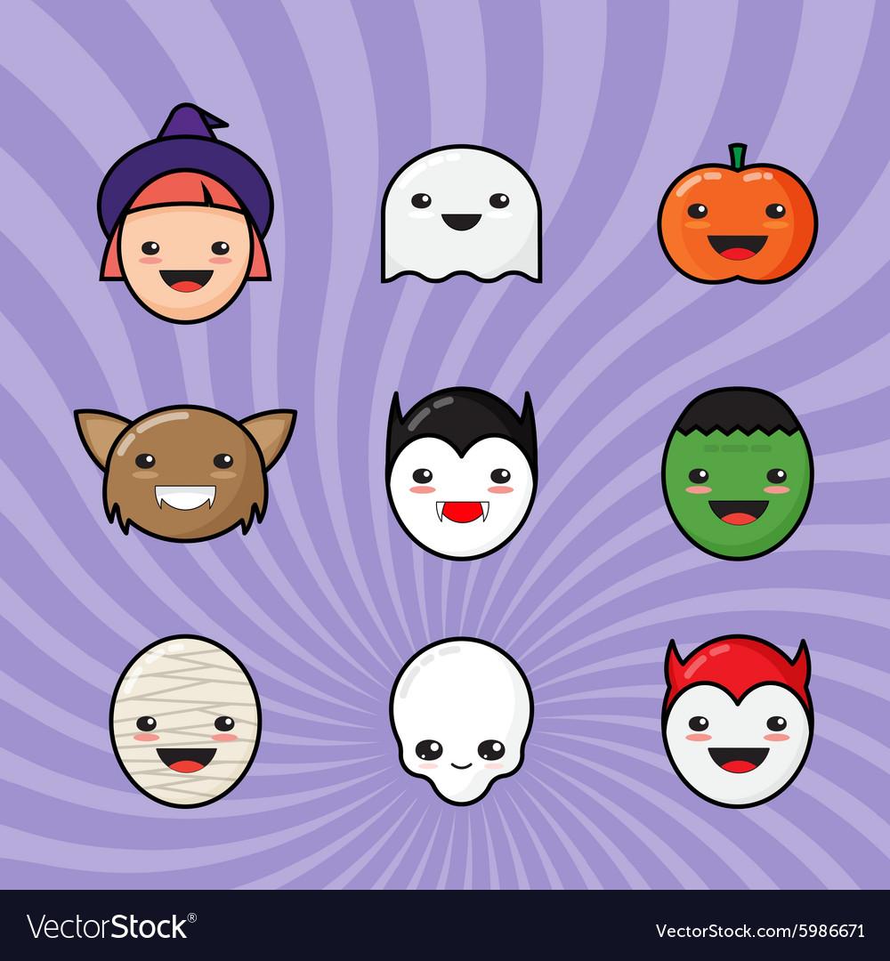 Cute Kawaii Halloween Icons Set Funny Monster