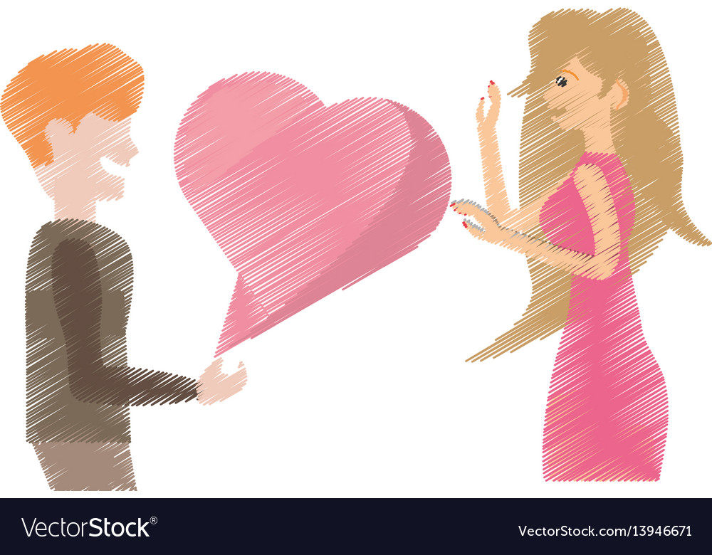 Drawing couple together with flowers decoration vector image