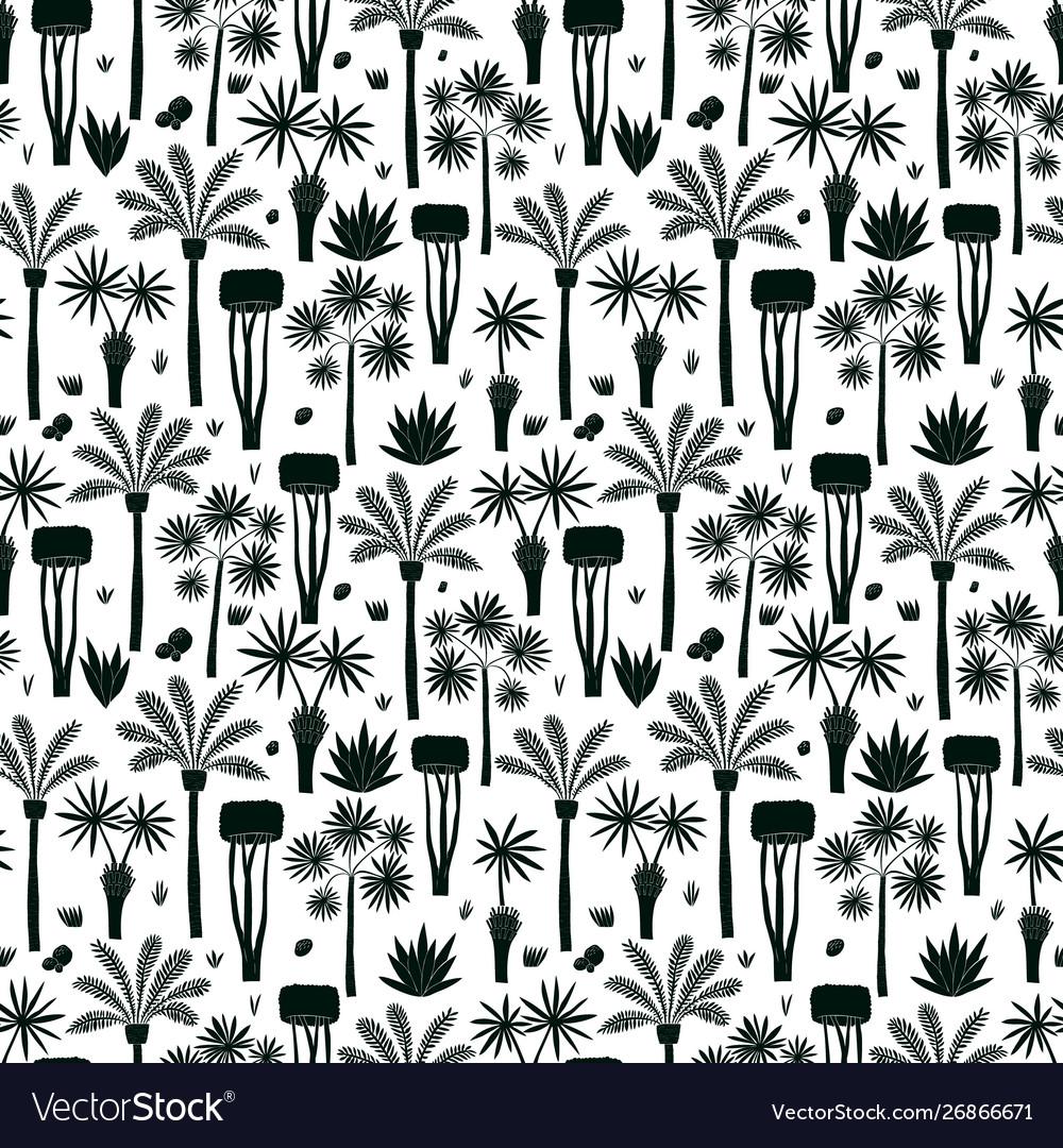 Fun hand drawn palms and trees seamless pattern