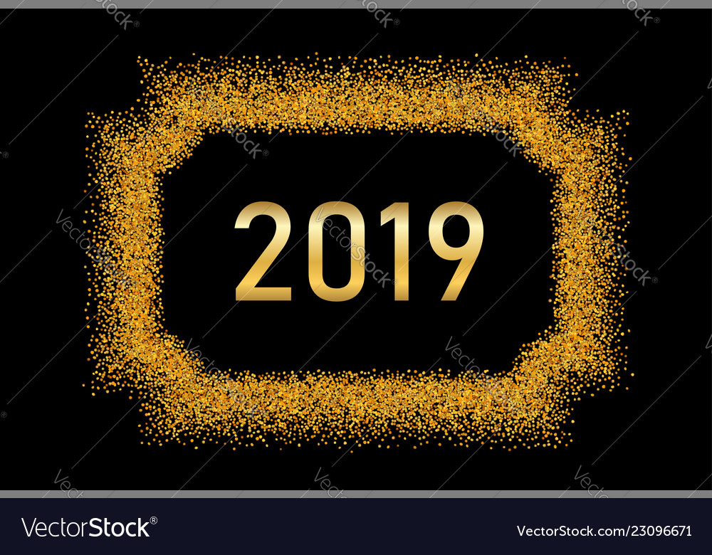 Happy new year gold background golden number