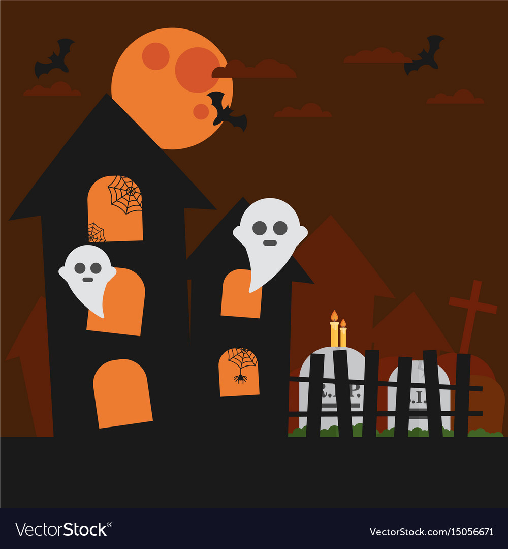 Haunted house bat ghost cloud in the sky vector image