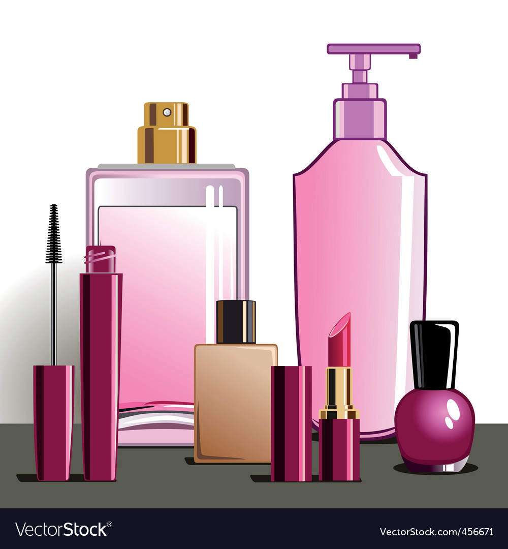 Makeup and beauty products Royalty Free Vector Image