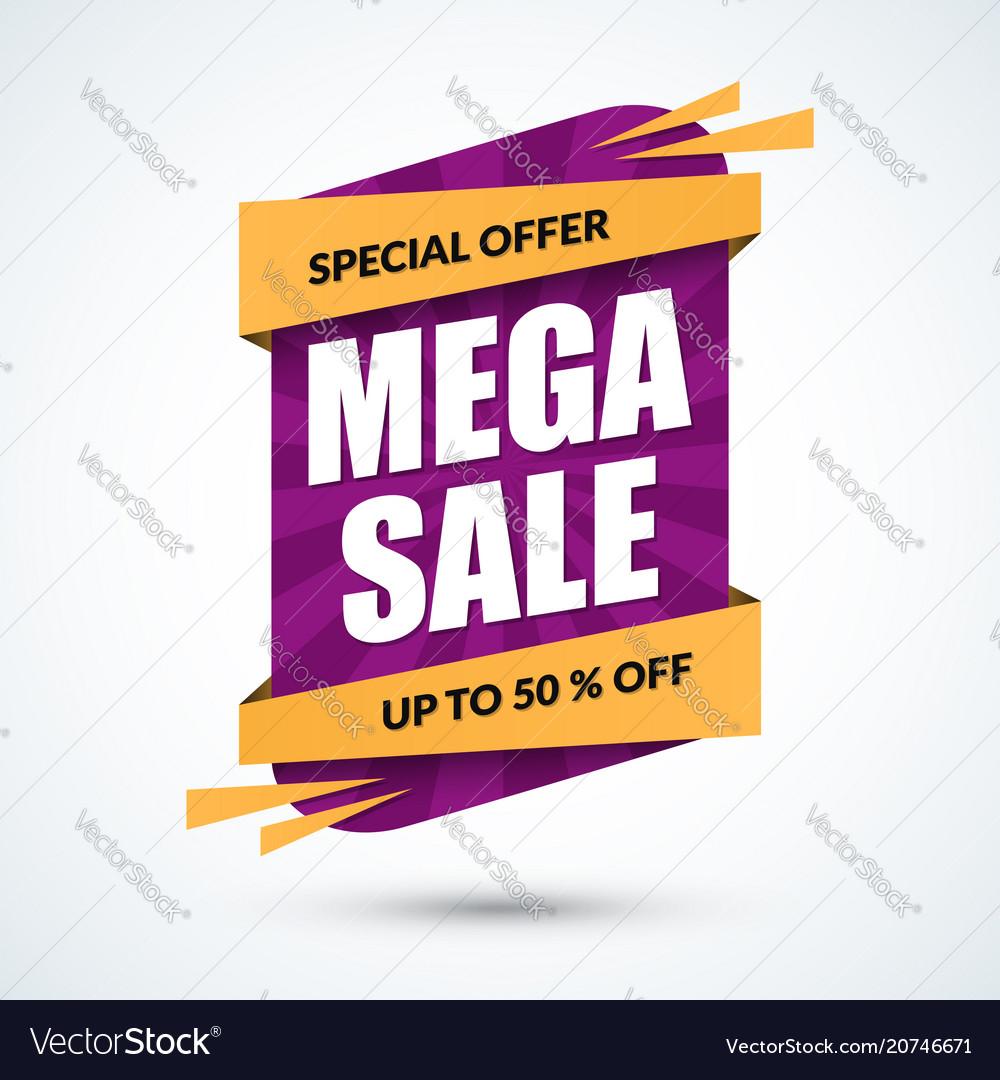 Mega sale banner special offer concept discount