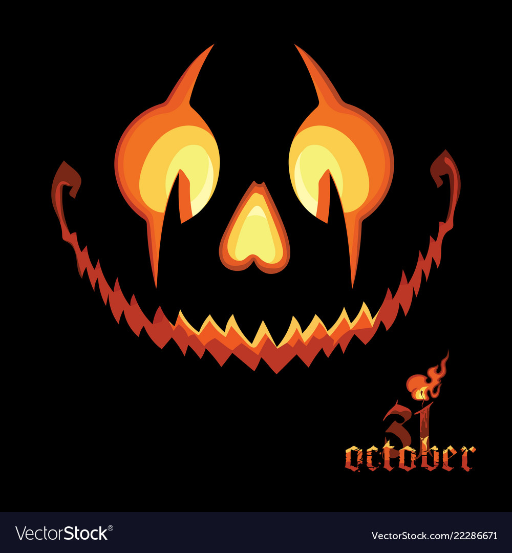 Scary Halloween Pumpkin With A Scary Jack O Vector Image