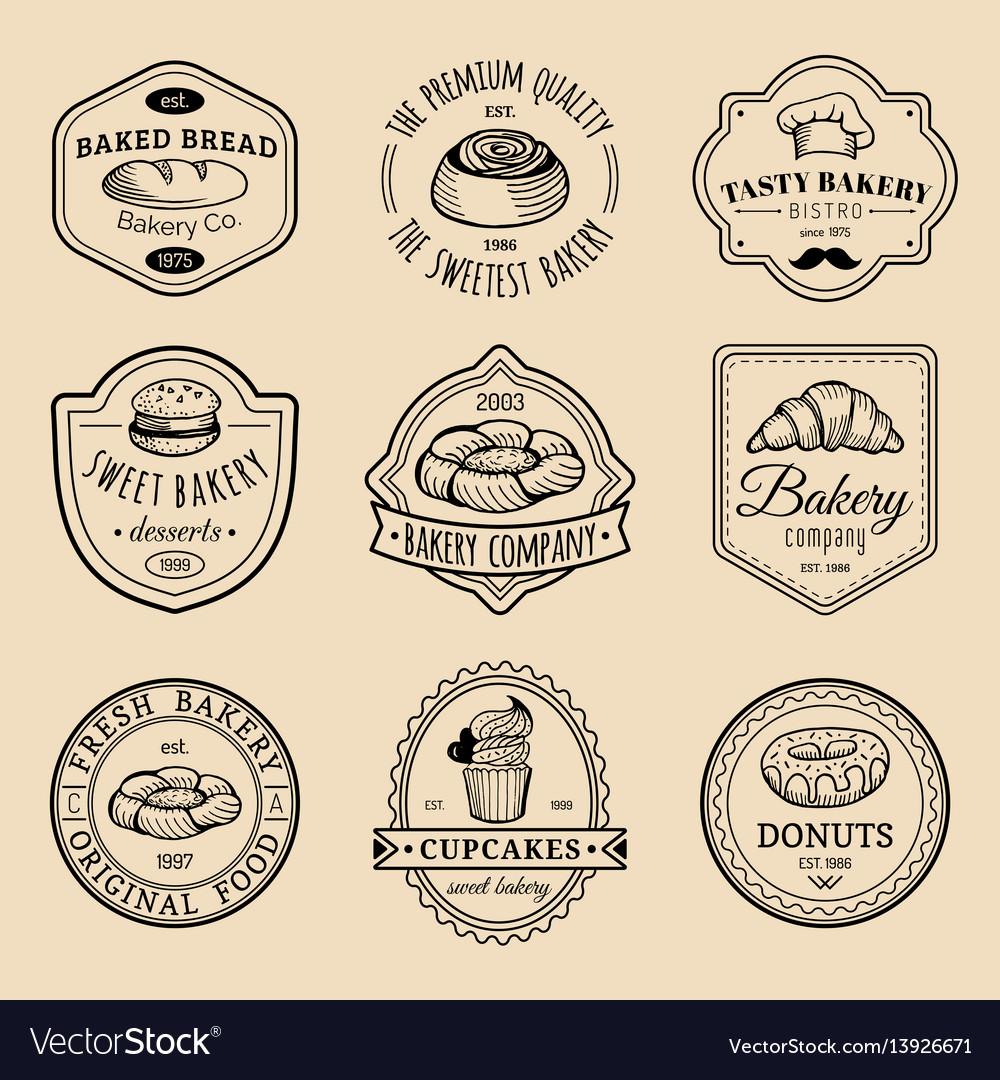 Set of vintage bakery logos retro emblems