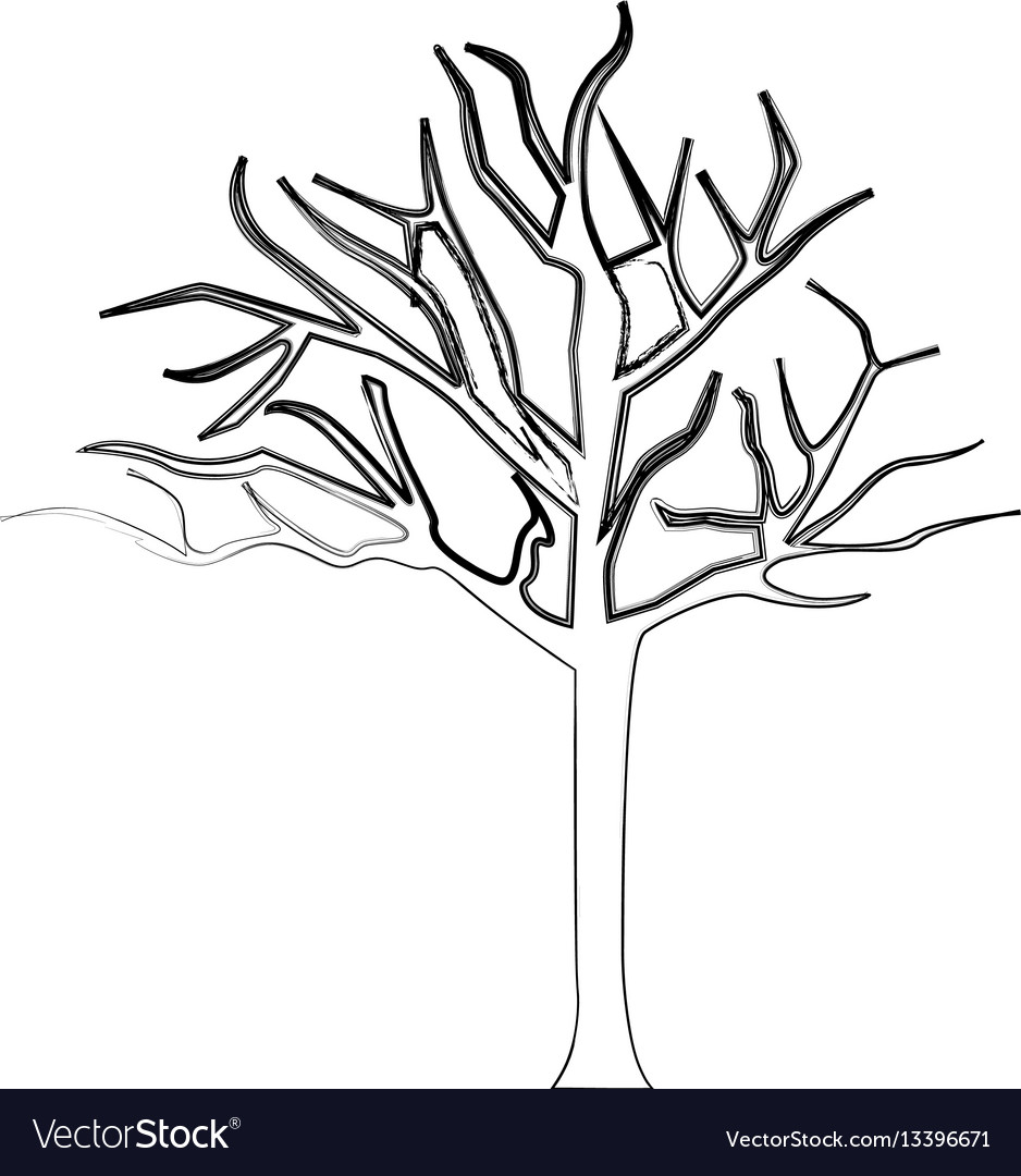 Silhouette bare oak tree icon