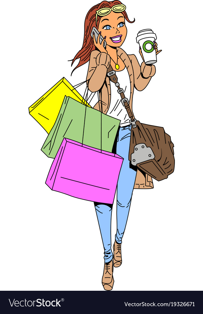 woman shopping clipart cartoon royalty free vector image rh vectorstock com woman with shopping bags clipart woman shopping clipart free