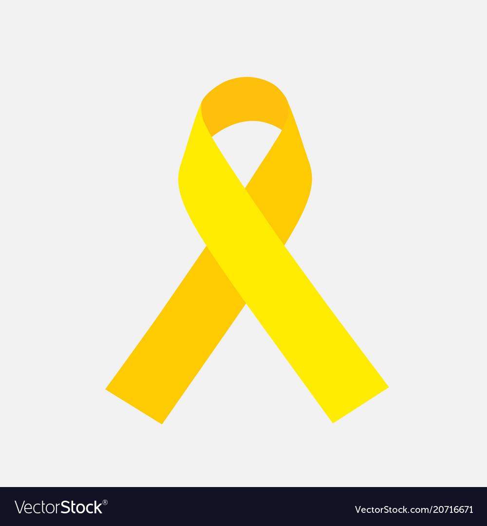 Yellow awareness ribbon on gray background bone vector image