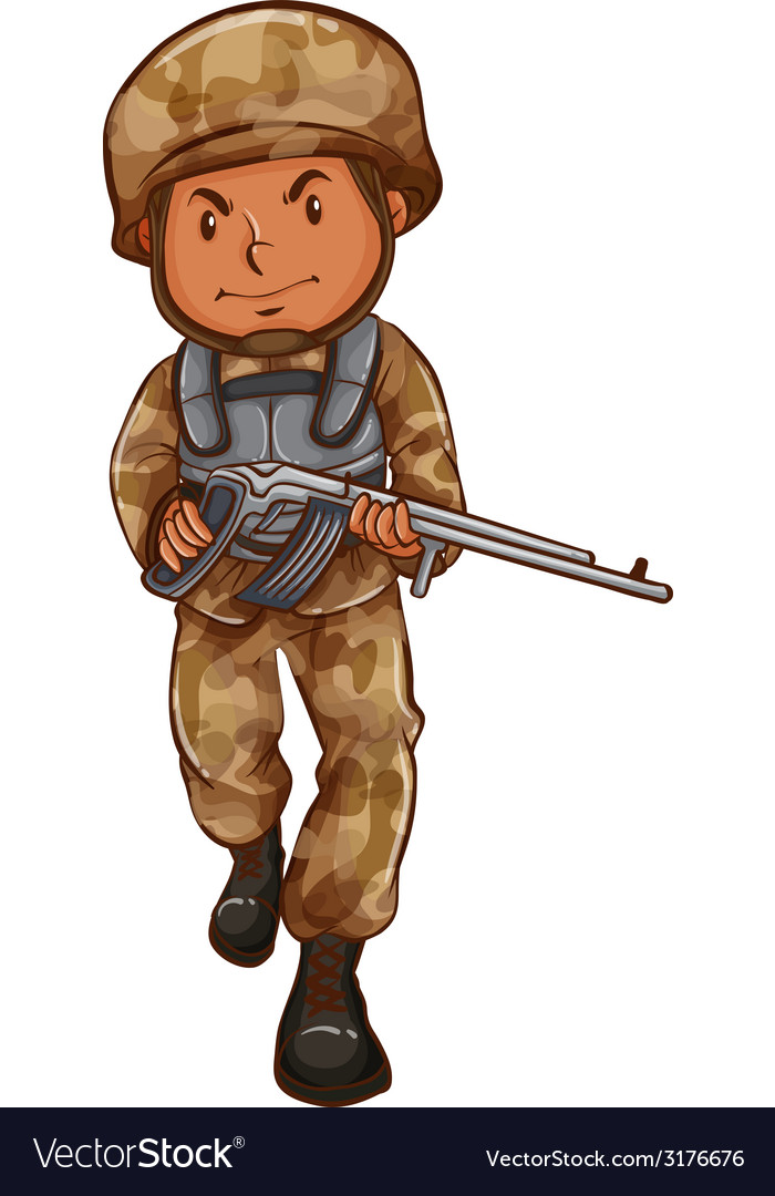 A drawing of a soldier with a gun